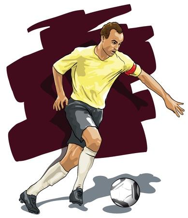 kicking ball: jugador durante la huelga en la bola (Vector Illustratio)