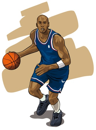 sportsmen: basketball during a game (Vector Illustratio)