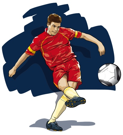 soccer shoe: player during the strike on the ball (Vector Illustratio)