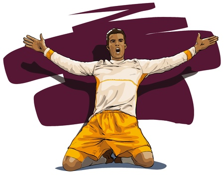 kicking ball: jugador de f�tbol, ??un triunfo de la victoria (Vector Illustratio) Vectores