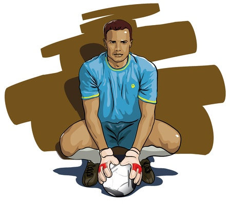futbol: portiere con la palla (Vector illustratio)