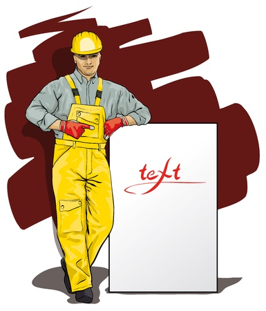 working out: a man working in special protective clothing and helmet (Vector Illustratio)