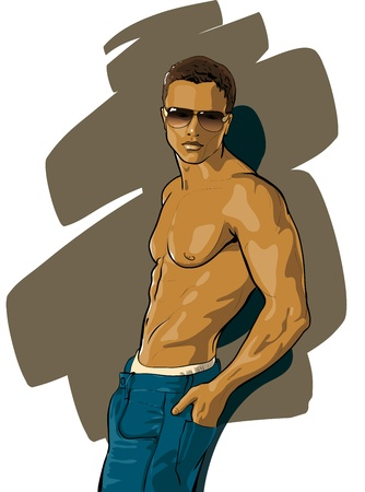 male model torso: tanned guy with a beautiful figure (Vector Illustratio)