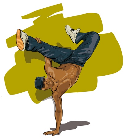 freestyle: dancers performing acrobatic action (Vector Illustratio)