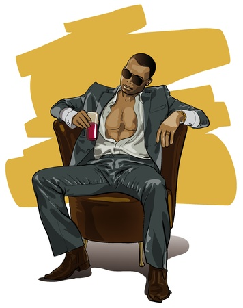 sexy muscular man: tough guy in an expensive suit (Vector Illustratio)