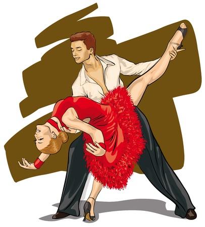 latin dance: een heel mooi paar in de dans (Vector Illustratio)