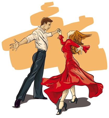 traditional dance: bella coppia nel ballo da sala (Vector illustratio)