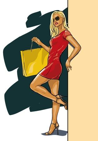 fashion shopping: mujer sexy con una nueva compra (Vector Illustratio) Vectores