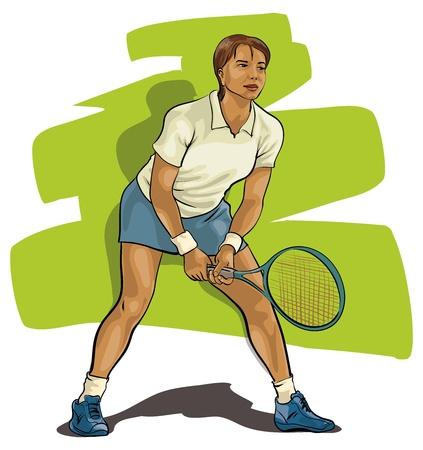 actividades recreativas: Tenis. Jugador con la raqueta lista para golpear una pelota. (Vector Illustratio)