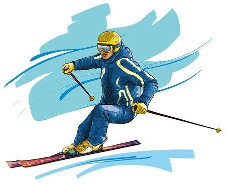 leisure games: Skiing. High-speed motion  (Vector Illustratio)