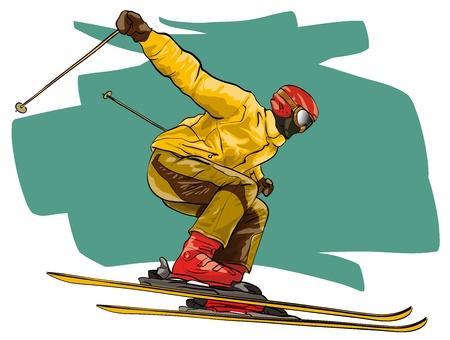 Skiën. Atleet in mid-air (vectorillustratio) Vector Illustratie