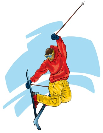 ski resort: Skiing. acrobatic act  (Vector Illustratio) Illustration
