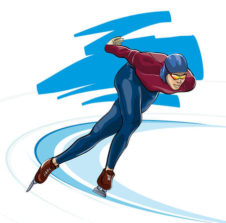 figure skater: Speed ??skating sports competition sport  (Vector Illustratio) Illustration
