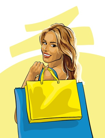glamour shopping: beautiful and happy woman with new purchases  (Vector Illustratio) Illustration
