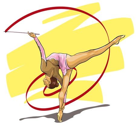 gymnastics sports: graceful gymnast Olympic sport  (Vector Illustratio)