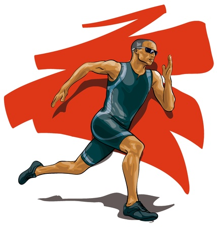 muscular men: professional athlete runner  (Vector Illustratio)
