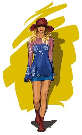 beautiful girl in a light summer dress (Vector Illustratio) Stock Vector - 12484477