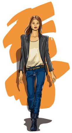 beautiful girl in stylish modern clothes (Vector Illustratio)