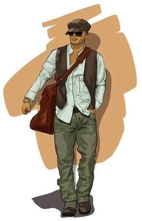 poses de modelos: buen hombre en ropa de estilo (Vector Illustratio) Vectores