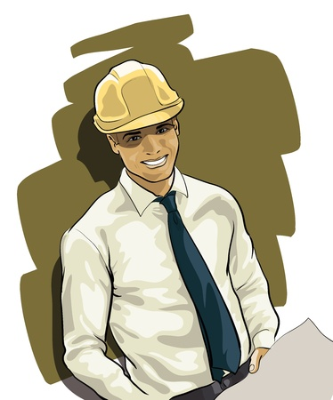 manual worker: professional young engineer in the helmet  (Vector Illustratio)