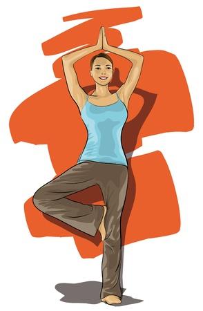bilinçli: women involved in sports, yoga  (Vector Illustratio) Çizim