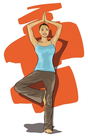 women involved in sports, yoga  (Vector Illustratio) Çizim