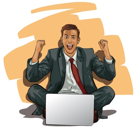 a man with a computer at the moment of success   Vector
