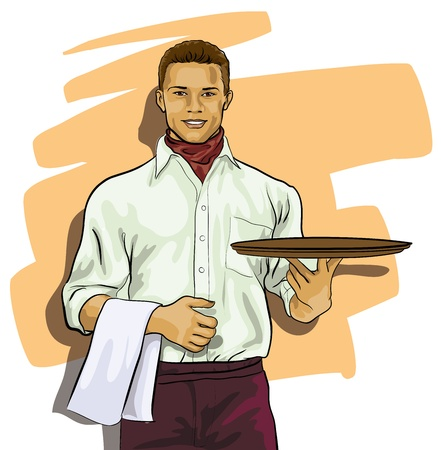 waiter serving: cute waiter with a tray  (Vector Illustratio)