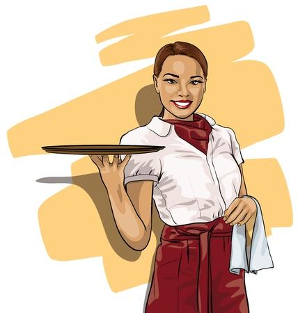 sirvientes: mujer bonita camarera con una bandeja (Vector Illustratio) Vectores