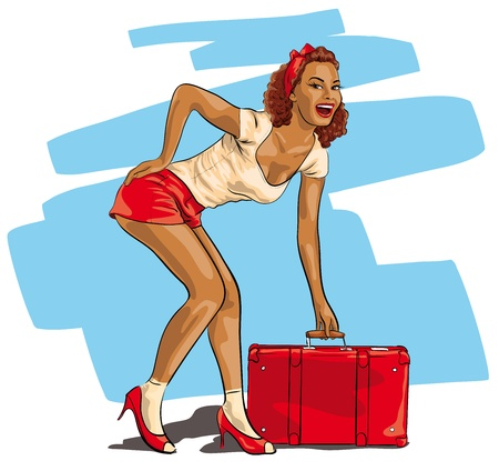 vintage woman: sexy woman with a travel suitcase
