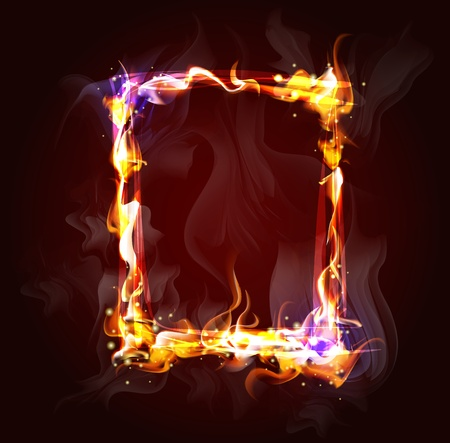 love blast: fire frame background for design   Illustration
