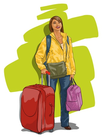 traveler, a beautiful young woman with a suitcase Vector