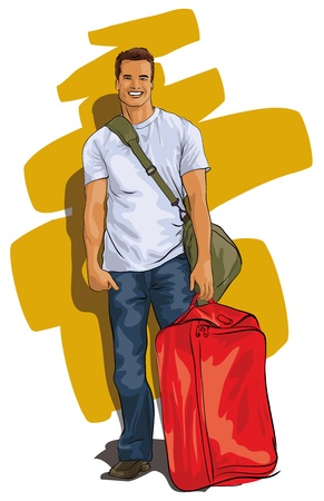 reiziger: reiziger, een knappe jonge man met een koffer Stock Illustratie