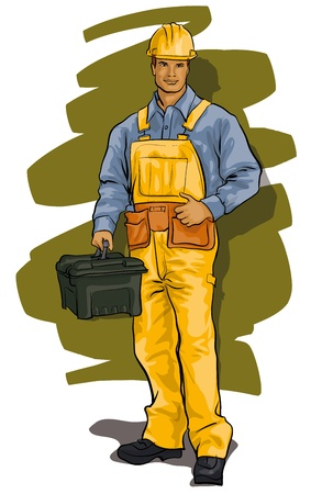tradesman: worker, a man in overalls, helmets and tools
