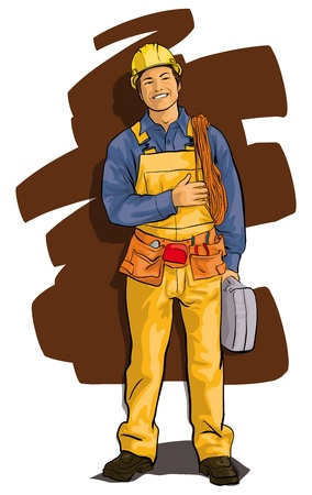 tradesman: worker, a happy man in overalls and a tool