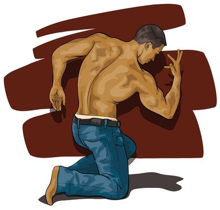 nude mann: Mann mit einem sehr sch�nen K�rper Illustration