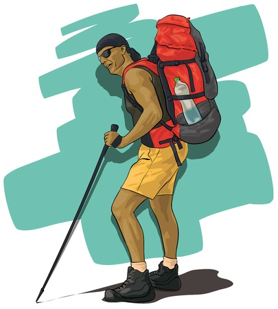 hiking boots: traveler, a tanned man with a backpack