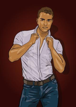 l'uomo, bello, con uno sguardo penetrante