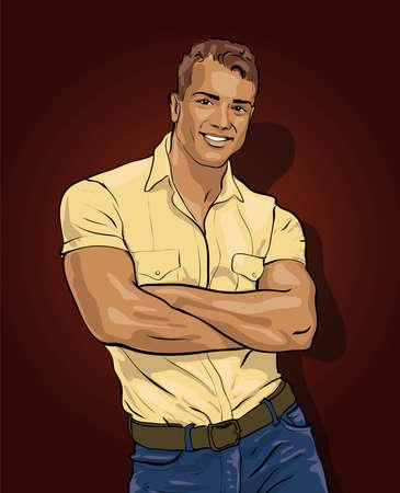 nude mann: Mann, gut aussehend mit einem durchdringenden Blick Illustration