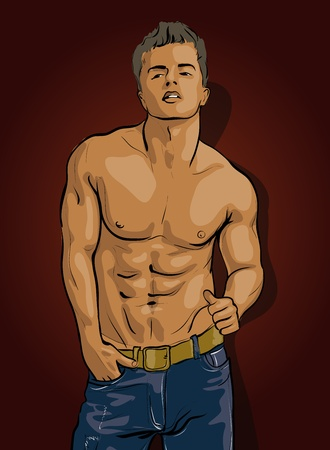 nude male: man, handsome with a piercing gaze Illustration