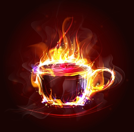 expresso: hot cup in the flame Illustration