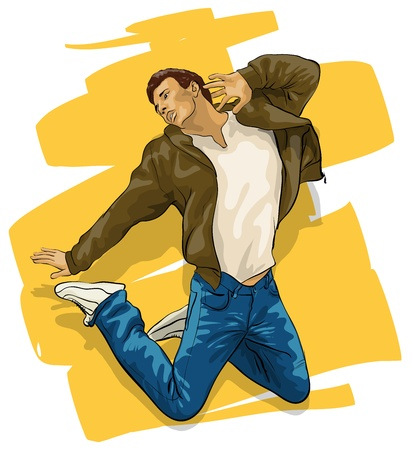 man in air: a young handsome guy in a jump Illustration