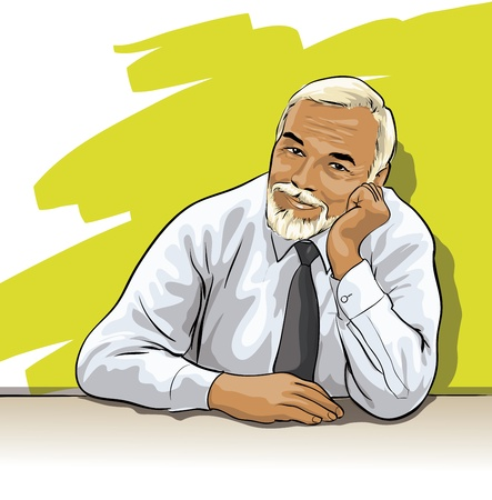 a wise old man with expressive eyes Vector