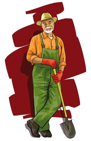 pensioen: Goede blij tuinman met een spade in zijn hand Stock Illustratie