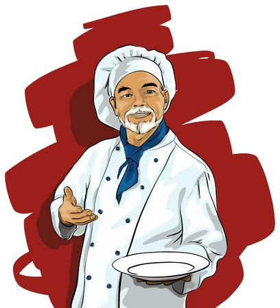 gourmet cooks: Chef with a blank plate Illustration