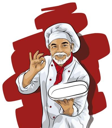 Chef-kok met een leeg bord
