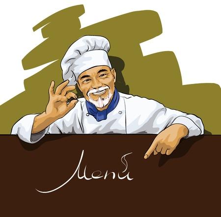 Chef muestra en el menú Ilustración de vector