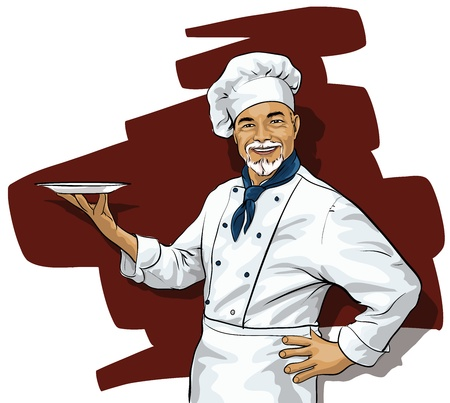 commercial kitchen: Chef with a blank plate Illustration