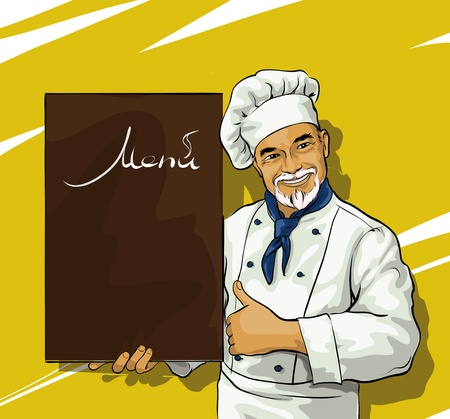 commercial kitchen: chef with menu board for Illustration