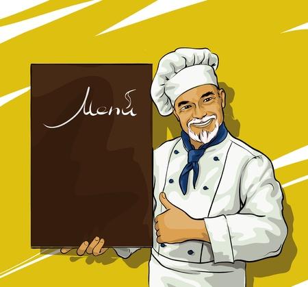 cocinero con el tablero del menú de